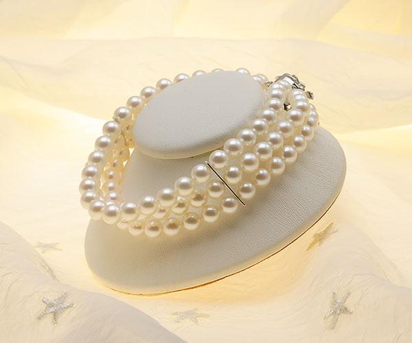 【真珠の本場 伊勢志摩よりお届け】ほんのり淡いピンク♪6.0-6.5mmあこや本真珠3連パールブレスレット【bl0051】