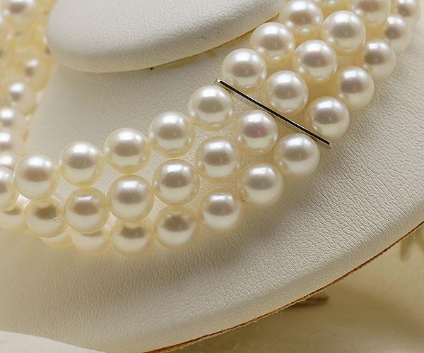 【真珠の本場 伊勢志摩よりお届け】ほんのり淡い優しいピンク♪6.0-6.5mmあこや本真珠3連パールブレスレット【bl0052】