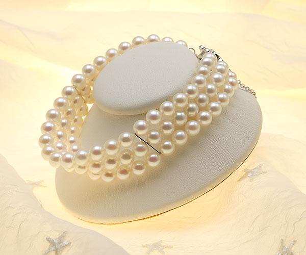 【真珠の本場 伊勢志摩よりお届け】美しいピンクが魅力♪6.0-6.5mmあこや本真珠3連パールブレスレット【bl0055】