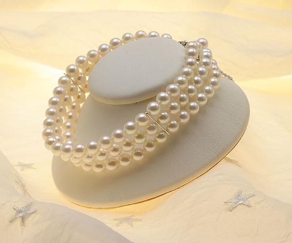 【真珠の本場 伊勢志摩よりお届け】淡い上品な色目♪5.5-6.0mmあこや本真珠3連パールブレスレット【bl0060】
