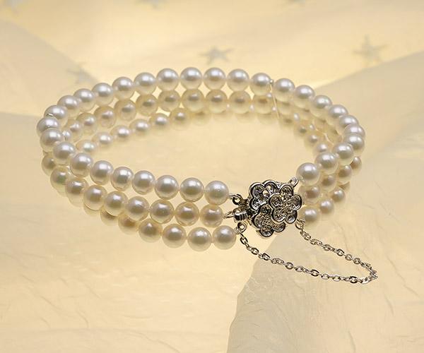 【真珠の本場 伊勢志摩よりお届け】美しいピンクが魅力♪6.0-6.5mmあこや本真珠3連パールブレスレット【bl0113】