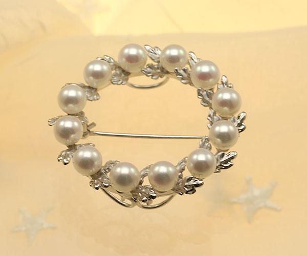 【真珠の本場 伊勢志摩よりお届け】深みのあるピンクが魅力♪5.5mmあこや本真珠パールブローチ【br0072】