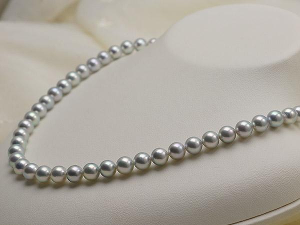 【真珠の本場 伊勢志摩よりお届け】グレーの力強い輝き♪7.0〜7.5mm あこや本真珠シルバーグレーネックレス【nc0120】