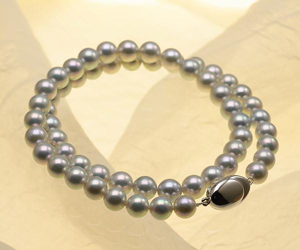 【真珠の本場 伊勢志摩よりお届け】ほんのりピンクが差すグレーが魅力♪7.0〜7.5mm あこや本真珠シルバーグレーネックレス【nc0125】