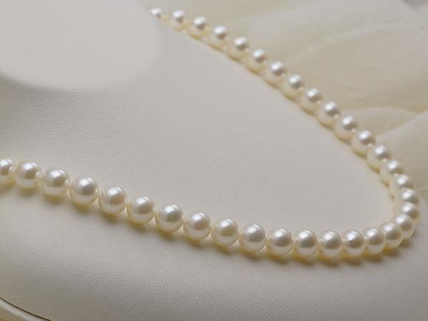 【真珠の本場 伊勢志摩よりお届け】7.5-8.0mmほんのり淡い上品ピンク♪あこや本真珠ネックレス【nc0152】