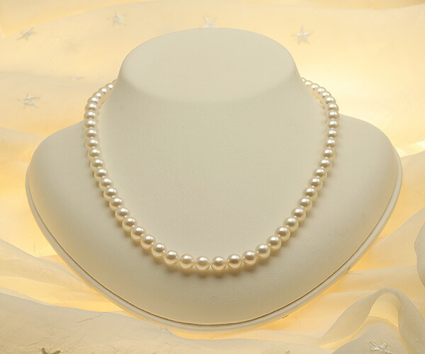 【真珠の本場 伊勢志摩よりお届け】ほんのりグリーン♪6.5〜7.0mmあこや本真珠ネックレス【nc0385】
