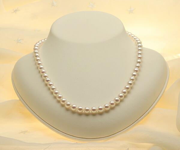 【真珠の本場 伊勢志摩よりお届け】華やかピンクが美しい♪6.5〜7.0mmあこや本真珠 パールネックレス【nc0394】(正面)