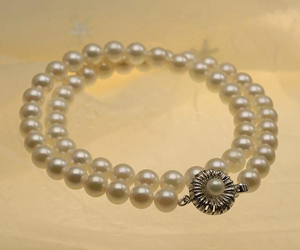 【真珠の本場 伊勢志摩よりお届け】ほのかに淡いグリーン♪7.0〜7.5mmあこや本真珠ネックレス【nc0405】