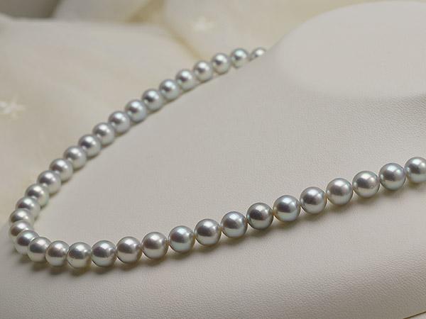 【真珠の本場 伊勢志摩よりお届け】深みのあるグレー♪7.0〜7.5mm あこや本真珠シルバーグレーネックレス【nc0461】