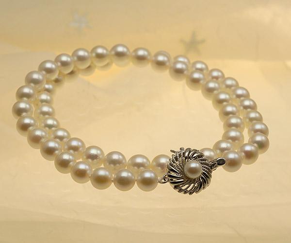 【真珠の本場 伊勢志摩よりお届け】7.0〜7.5mm淡い優しいピンク♪あこや本真珠パールネックレス【nc0650】