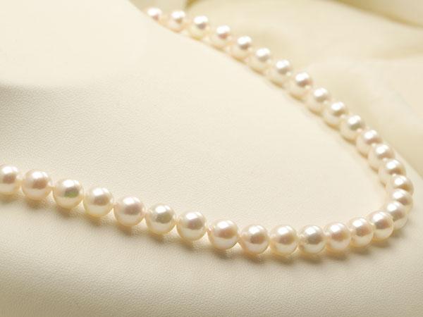 【真珠の本場 伊勢志摩よりお届け】ほんのり淡いピンク♪7.5〜8.0mmあこや本真珠ネックレス【nc0801】