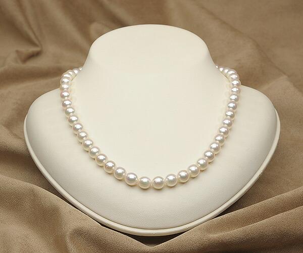 【真珠の本場 伊勢志摩よりお届け】干渉色が魅力♪7.5〜8.0mmあこや本真珠ネックレス【nc0802】