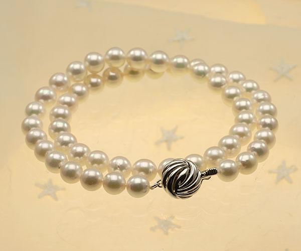 【真珠の本場 伊勢志摩よりお届け】干渉色が美しい♪7.5〜8.0mmあこや本真珠パールネックレス【nc0805】