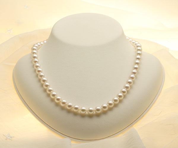 【真珠の本場 伊勢志摩よりお届け】7.5〜8.0mm淡いピンクグリーン♪あこや本真珠パールネックレス【nc0811】