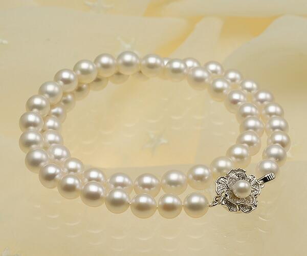 【真珠の本場 伊勢志摩よりお届け】淡い優しい色目♪7.5〜8.0mmあこや本真珠ネックレス【nc0812】