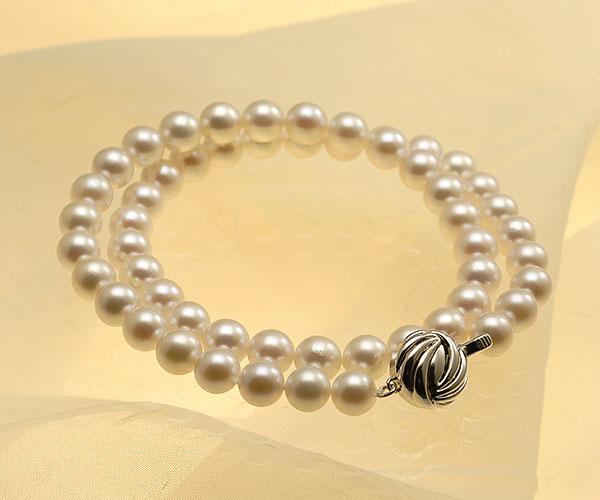 【真珠の本場 伊勢志摩よりお届け】7.5〜8.0mm澄んだホワイトに淡いピンク♪あこや本真珠ネックレス【nc0813】