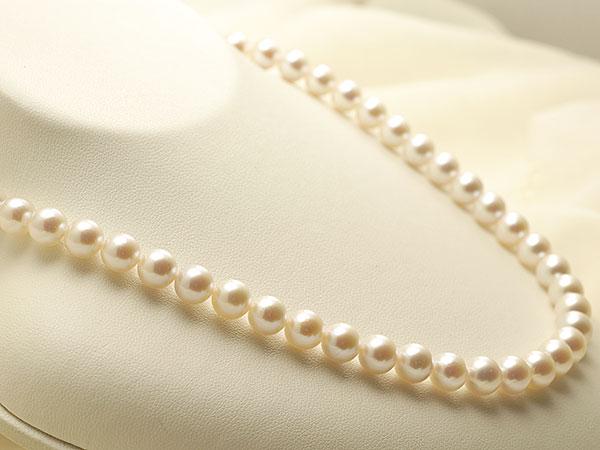 【真珠の本場 伊勢志摩よりお届け】7.5〜8.0mmほんのり淡いピンク♪あこや本真珠ネックレス【nc0815】
