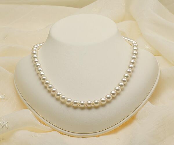 【真珠の本場 伊勢志摩よりお届け】7.5〜8.0mm淡いピンクグリーン♪あこや本真珠ネックレス【nc0817】