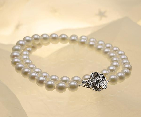 【真珠の本場 伊勢志摩よりお届け】ほんのり上品グリーン♪7.0〜7.5mmあこや本真珠ネックレス【nc0830】