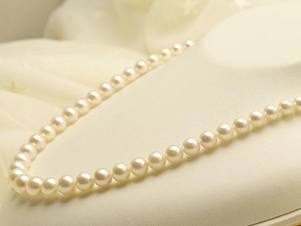 【真珠の本場 伊勢志摩よりお届け】ほんのり淡いピンクグリーン♪5.0-9.0mmあこや本真珠グラデーションネックレス【nc0859】