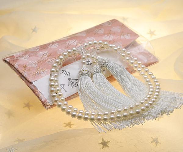 【真珠の本場 伊勢志摩よりお届け】ほんのり淡い上品カラー♪6.0〜6.5mmあこや本真珠念珠(数珠)2連【ry0048】