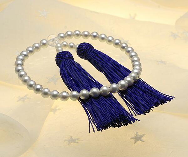 【真珠の本場 伊勢志摩よりお届け】シルバーグレーの深みある色目♪6.5〜7.0mm あこや本真珠念珠【n0116】