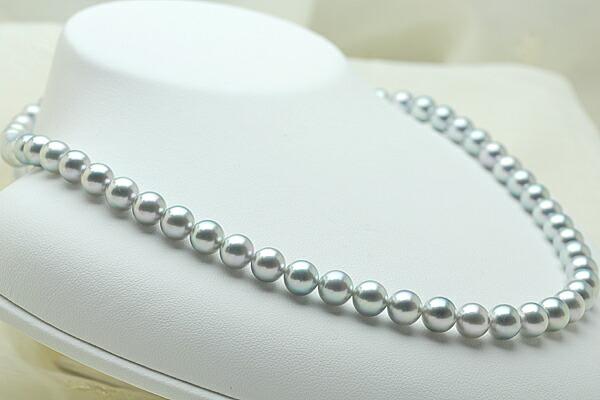 【真珠の本場 伊勢志摩よりお届け】7.0〜7.5mm あこや本真珠シルバーグレーネックレス