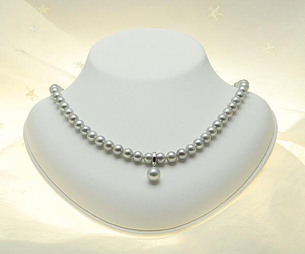 シルバーグレーの上品な輝き♪9.0mmあこや本真珠クリッカー【n0738】