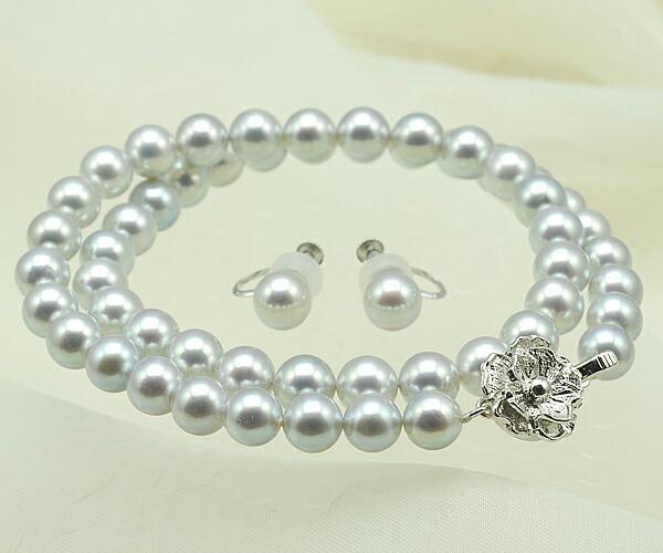 【真珠の本場 伊勢志摩よりお届け】7.5〜8.0mm あこや本真珠ネックレスセット【n0776】