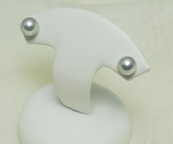 【真珠の本場 伊勢志摩よりお届け】落ち着きのあるシルバーグレー♪6.5mmあこや本真珠ピアス【n1064】