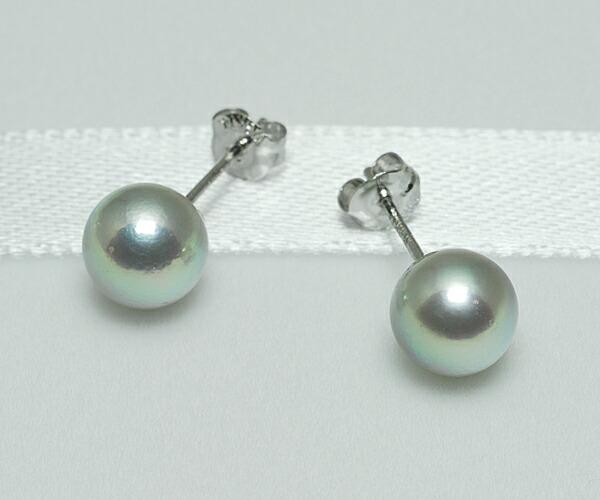 【真珠の本場 伊勢志摩よりお届け】上品グレーが魅力♪6.5mmあこや本真珠ピアス【n1065】