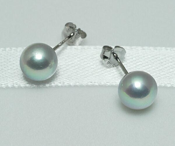 【真珠の本場 伊勢志摩よりお届け】シルバーグレーの上品な輝き♪6.5mmあこや本真珠ピアス【n1066】