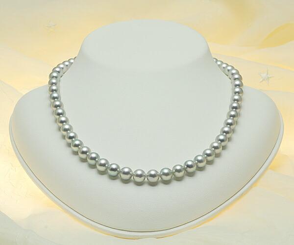 【真珠の本場 伊勢志摩よりお届け】7.5〜8.0mm あこや本真珠シルバーグレーネックレス