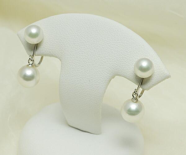 【真珠の本場 伊勢志摩よりお届け】上品ホワイトパールが揺れる♪あこや本真珠ブライヤリング(ネジ式)【n1099】