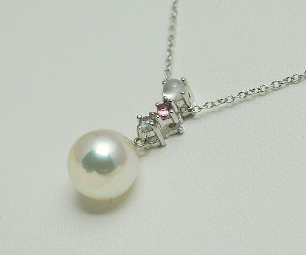 【真珠の本場 伊勢志摩よりお届け】3粒の宝石が真珠を彩る♪<br>あこや本真珠ペンダントトップ【n1180】