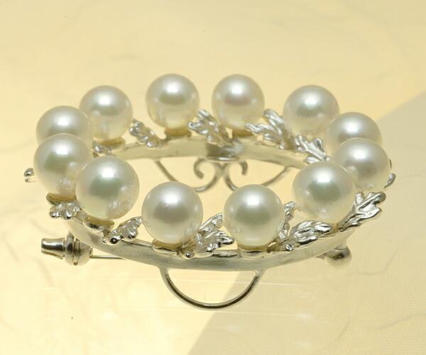 【真珠の本場 伊勢志摩よりお届け】 12粒のパールが並ぶゴージャスリース♪あこや本真珠ブローチ【n1200】