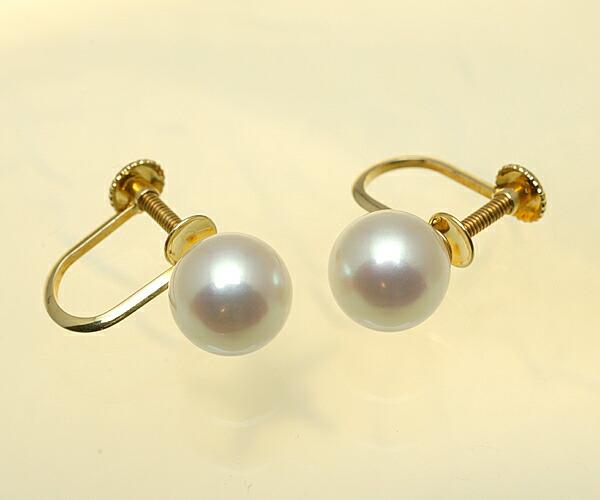 【真珠の本場 伊勢志摩よりお届け】淡いピンクの優しい輝き♪7.5mmあこや本真珠イヤリング(ネジ式)【n1206】