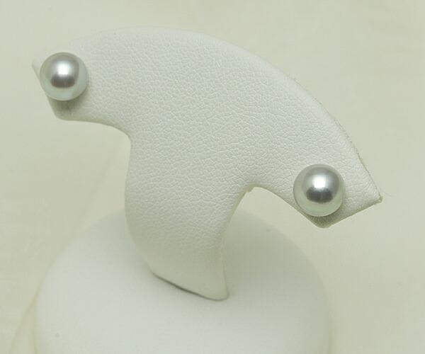 【真珠の本場 伊勢志摩よりお届け】シルバーグレーにほのかなピンク♪6.5mmあこや本真珠ピアス【n1232】