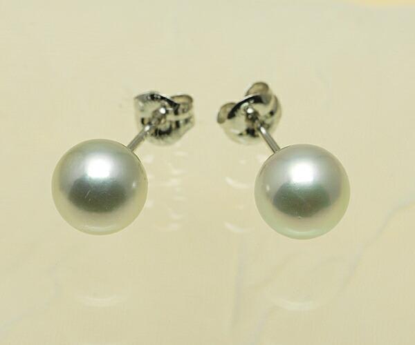 【真珠の本場 伊勢志摩よりお届け】淡いグレーの優しい輝き♪7.0mmあこや本真珠ピアス【n1233】