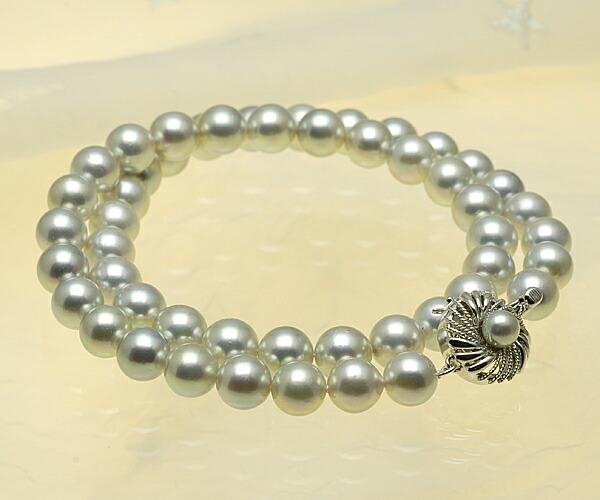 【真珠の本場 伊勢志摩よりお届け】華やかシルバーグレー♪8.0〜8.5mm あこや本真珠シルバーグレーネックレス