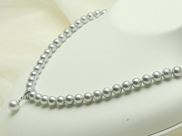 【真珠の本場 伊勢志摩よりお届け】淡いグレーに優しく揺れるトップつき♪6.5〜7.0mmmm あこや本真珠シルバーグレーネックレス【n0544】