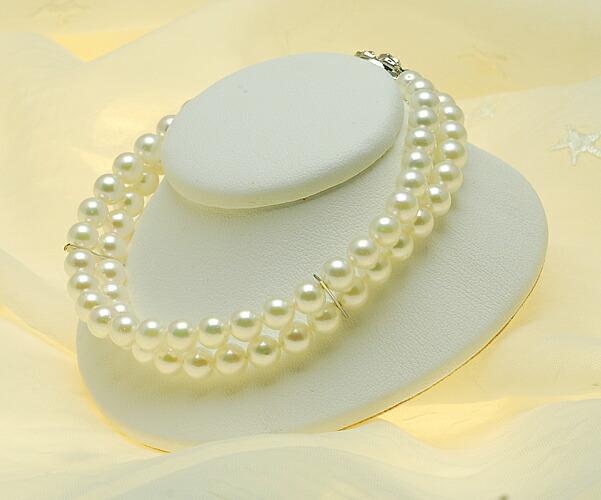 【真珠の本場 伊勢志摩よりお届け】5.5〜6.0mm あこや本真珠2連ブレスレット【n0808】