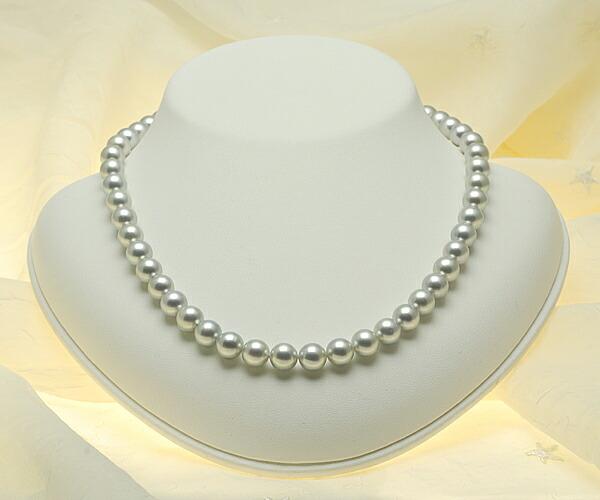 【真珠の本場 伊勢志摩よりお届け】ライトグレーの華やかな輝き♪8.0〜8.5mmあこや本真珠シルバーグレーネックレス【n0918】