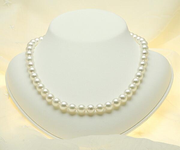 【真珠の本場 伊勢志摩よりお届け】ほんのりピンクに優しいグリーン♪8.5〜9.0mmあこや本真珠ネックレス