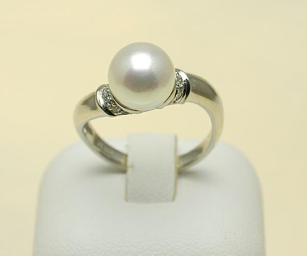 【真珠の本場 伊勢志摩よりお届け】8.5mmあこや本真珠プラチナリング【n1166】