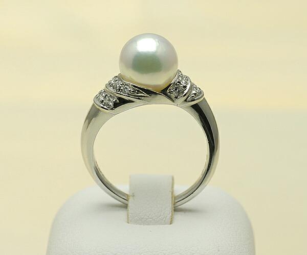【真珠の本場 伊勢志摩よりお届け】8.6mmあこや本真珠プラチナリング【n1168】