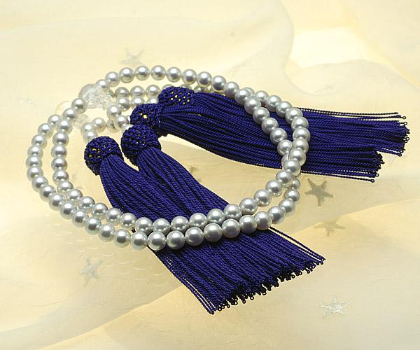 【真珠の本場 伊勢志摩よりお届け】シルバーグレーの深い色目♪あこや本真珠念珠【n1405】