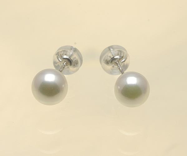 【真珠の本場 伊勢志摩よりお届け】ほのかなピンクグリーン♪6.5mmあこや本真珠ピアス【n1473】