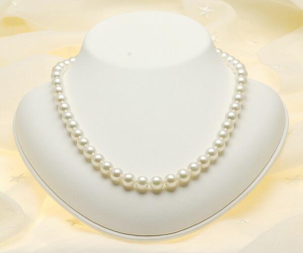 【真珠の本場 伊勢志摩よりお届け】淡いグリーンの上品カラー♪8.0〜8.5mmあこや本真珠ネックレス【n0311】