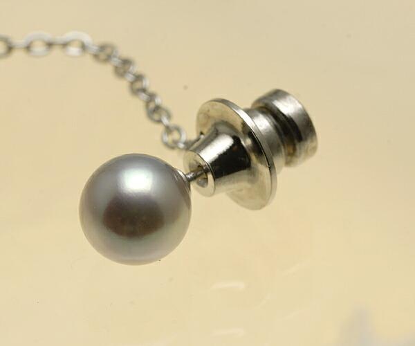 【真珠の本場 伊勢志摩よりお届け】落ち着いた大人のグレー♪8.0mm あこや本真珠 ネクタイピン【n1188】